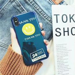 经典笑脸THANKYOU/keepyousmile,蓝光手机壳TPU苹果OPPO美图VIVO壳套