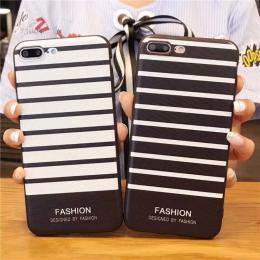 黑白条纹fashion,苹果8X浮雕手机壳 vivox20plus黑边软壳OPPOR11splus