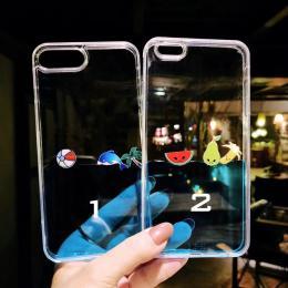 海豚香蕉液体流沙漂浮物tpu+pc手机壳