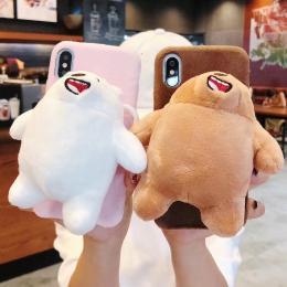 大熊白熊熊猫三只熊DIY玩偶毛绒手机壳