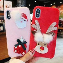 圣诞老人圣诞树毛绒DIY手机壳