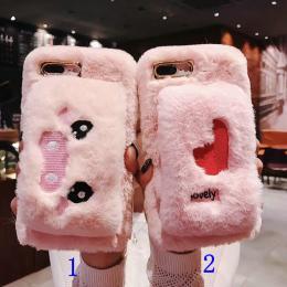 隐形卡包,手带可卸,刺绣毛绒小猪爱心款手机壳批发招代理
