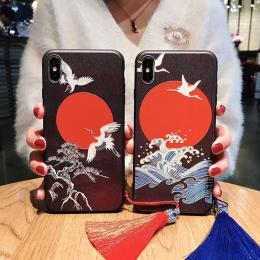 仙鹤红梅花银信荷叶浮雕手机壳型号表