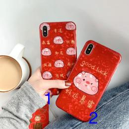 贝壳纹红色新年喜庆款好运暴富小猪手机壳IMD批发代理