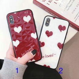 菱形砖石纹红白爱心be loved手机壳