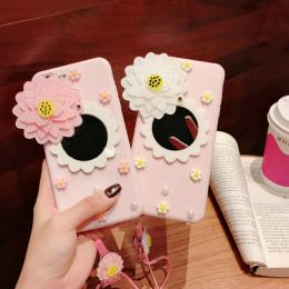 粉花镜子diy糖果手机壳带挂绳