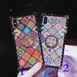 蓝格子纹中国风情朵砖石支架方形手机壳软批发招代理